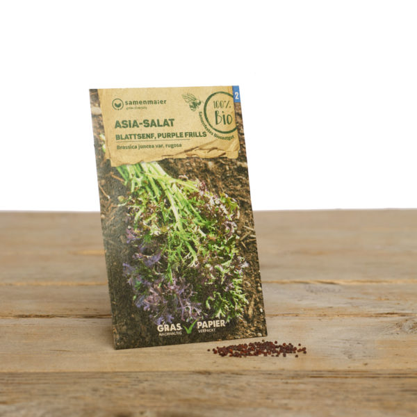 Bio Saatgut Asia Salat Blattsenf Purple Frills von Samen Maier